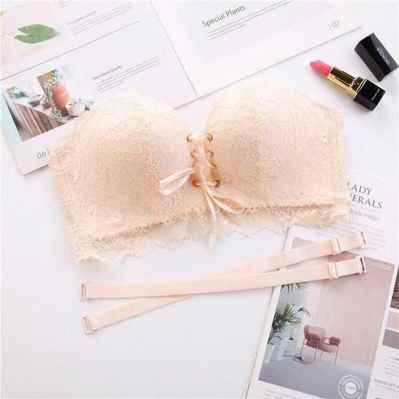 Drawstrings Push Up Lace Bra