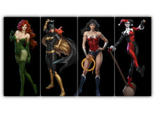 Load image into Gallery viewer, Multi Panel 2 villian and 2 hero Split Grouped Wall Canvas Art