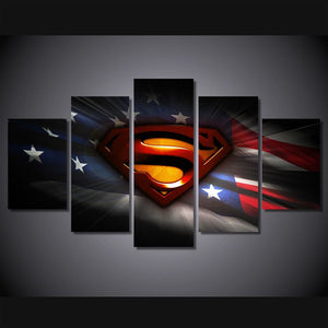 Multi Panel Superman US Flag Split Grouped Wall Canvas Art