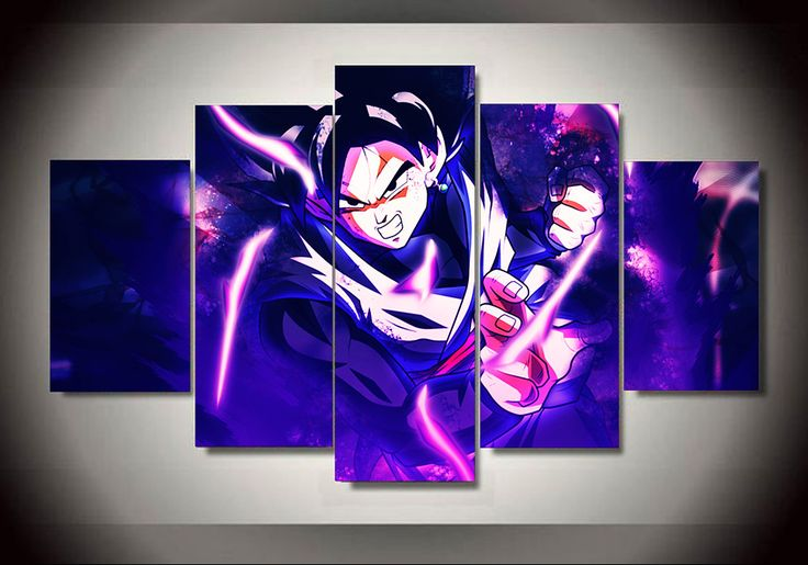 Multi Panel Son Goku Split Grouped Wall Canvas Art