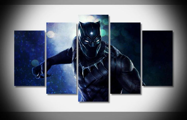 Multi Panel Black Panther Split Grouped Wall Canvas Art