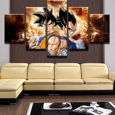 Multi Panel Son Goku Vegeta Split Grouped Wall Canvas Art
