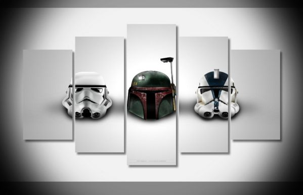 Multi Panel Star Wars Helmets Split Grouped Wall Canvas Art