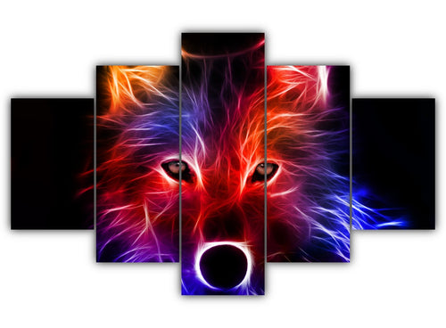 Multi Panel Abstract Wolf Split Grouped Wall Canvas Art