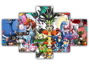Multi Panel All Rare Pokemon Split Grouped Wall Canvas Art