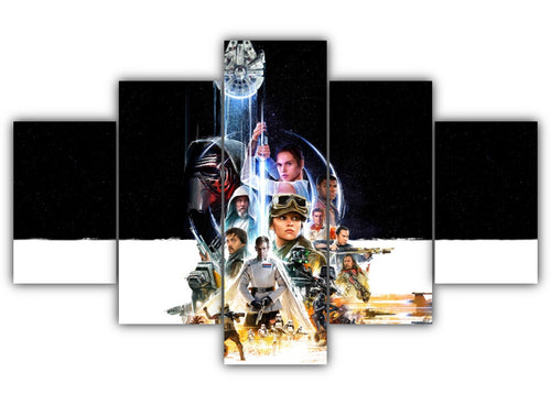 Multi Panel All Star Wars character Split Grouped Wall Canvas Art