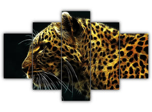 Multi Panel Amazing Leopard Split Grouped Wall Canvas Art