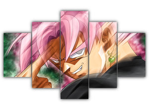 Multi Panel Black Goku Instant Transmission Split Grouped Wall Canvas Art
