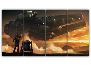 Multi Panel C 3P0 and R2 D2 Split Grouped Wall Canvas Art