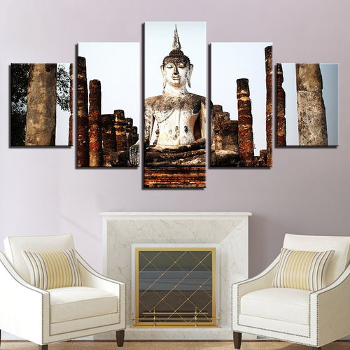 Multi Panel Smiling Buddha Statue Temple Nature Split Grouped Wall Canvas Art