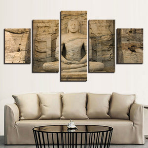 Multi Panel Buddha Stone Statue Split Grouped Wall Canvas Art
