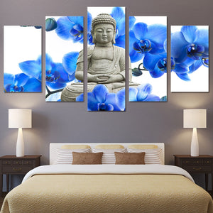 Multi Panel Buddha Stone Statue Blue Flowers Split Grouped Wall Canvas Art