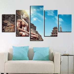 Multi Panel Buddha Monastery Sun Split Grouped Wall Canvas Art
