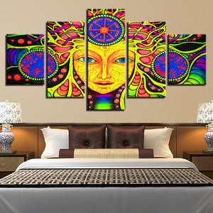 Multi Panel Psychedelic Buddha Split Grouped Wall Canvas Art