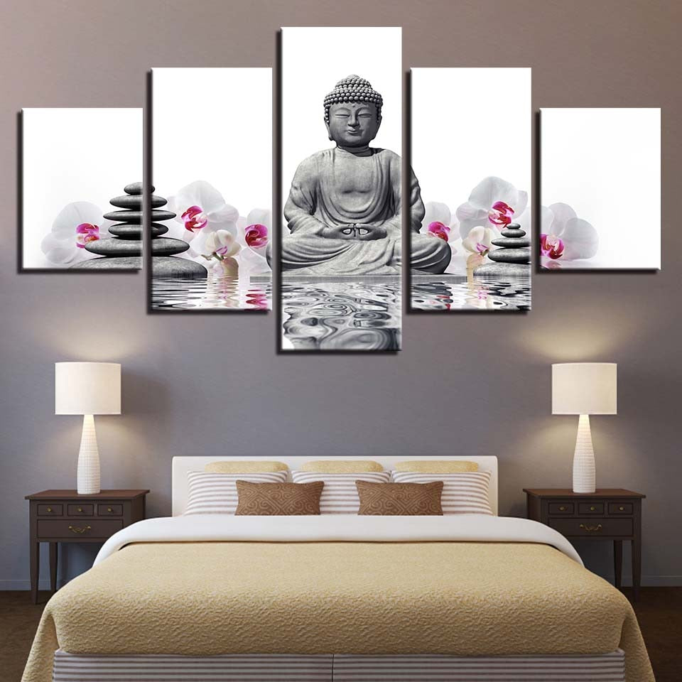 Multi Panel Buddha with Flowers and Stones Split Grouped Wall Canvas Art