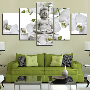Multi Panel Buddha Stone Statue White Flowers Split Grouped Wall Canvas Art