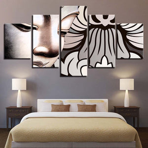 Multi Panel White Buddha Design Split Grouped Wall Canvas Art