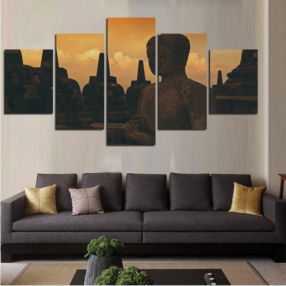 Multi Panel Buddha Surrounded By Monasteries Split Grouped Wall Canvas Art
