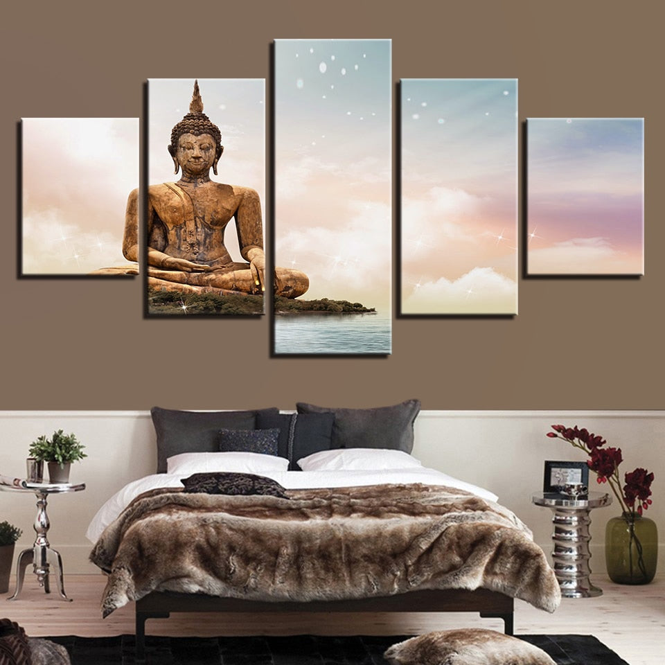 Multi Panel Golden Buddha Statue Land Split Grouped Wall Canvas Art