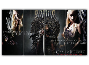 Multi Panel Cersei Eddard and Daenerys Split Grouped Wall Canvas Art