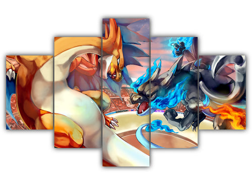 Multi Panel Charizard Vs. Charizard Split Grouped Wall Canvas Art