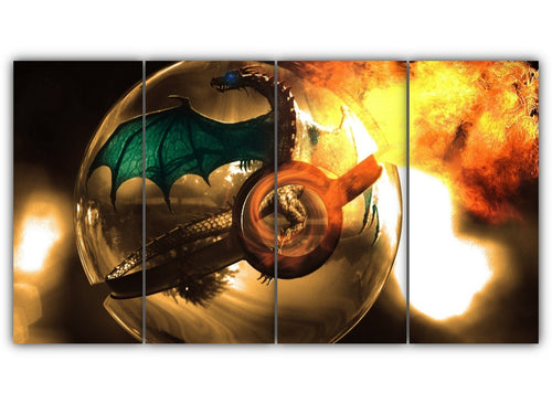 Multi Panel Charizard in Pokeball Split Grouped Wall Canvas Art