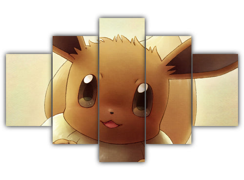 Multi Panel Cute Eevee Split Grouped Wall Canvas Art