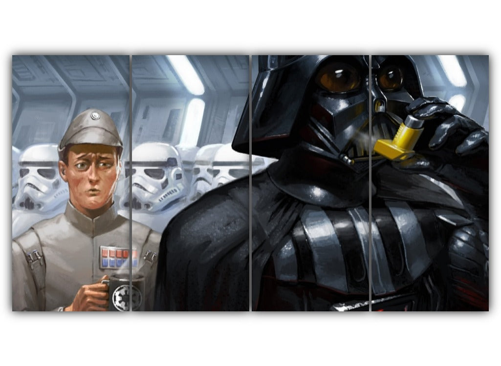 Multi Panel Darth Vader Cough Cough Split Grouped Wall Canvas Art