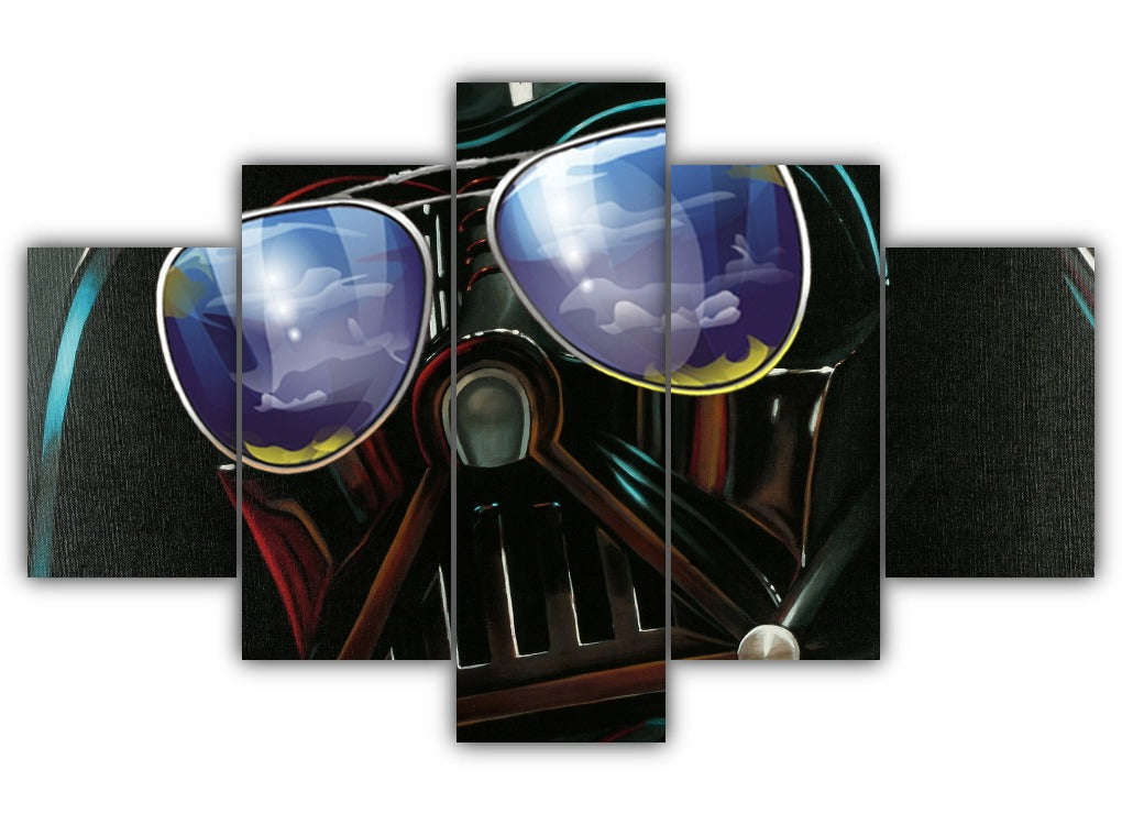 Multi Panel Darth Vader with sunglasses Split Grouped Wall Canvas Art
