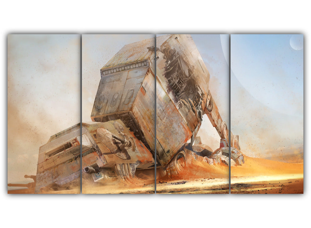 Multi Panel Destroyed AT AT Walker Split Grouped Wall Canvas Art