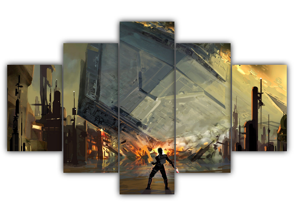 Multi Panel Destruction Of The Destroyer Split Grouped Wall Canvas Art