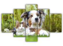 Load image into Gallery viewer, Multi Panel Dog and Cat Split Grouped Wall Canvas Art