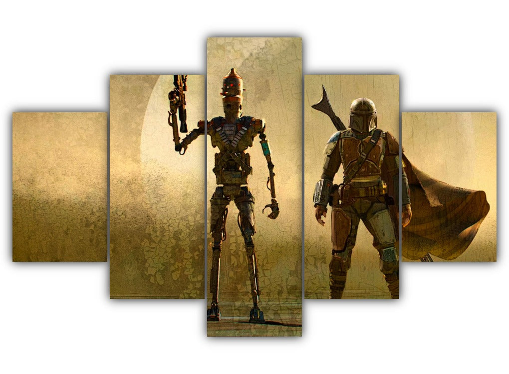 Multi Panel Droid and Mando Split Grouped Wall Canvas Art