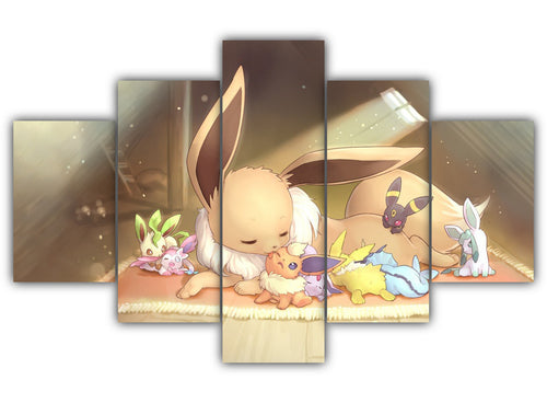 Multi Panel Eevee and her forms Split Grouped Wall Canvas Art