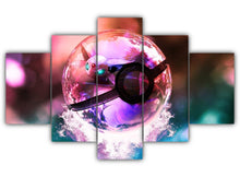 Load image into Gallery viewer, Multi Panel Espeon in Pokeball Split Grouped Wall Canvas Art