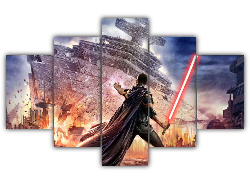 Multi Panel Falling Star Destroyer Split Grouped Wall Canvas Art