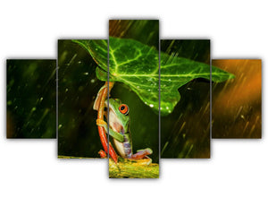Multi Panel Frog and the Leaf Umbrella Split Grouped Wall Canvas Art