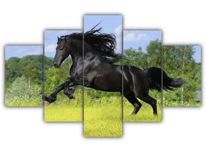 Multi Panel Galloping Black Horse Split Grouped Wall Canvas Art
