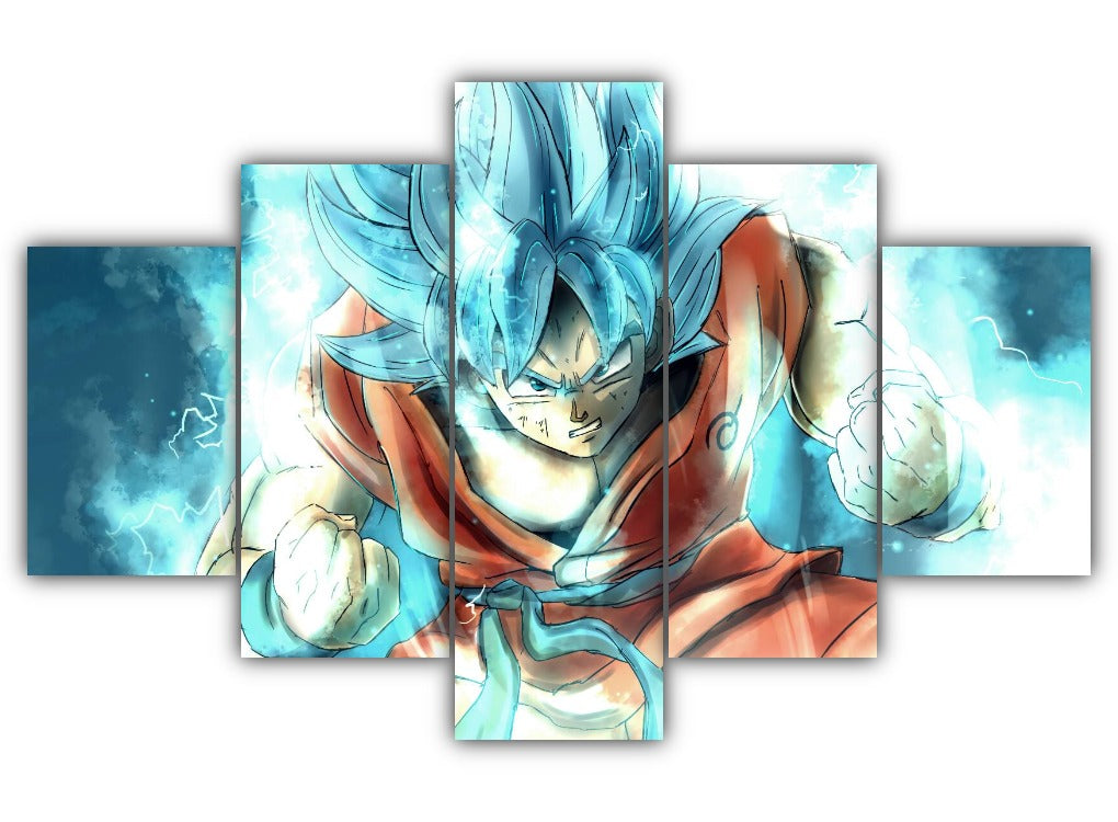 Multi Panel Goku SSJ Blue Split Grouped Wall Canvas Art