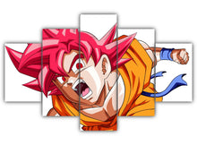 Load image into Gallery viewer, Multi Panel Goku SSJ God Split Grouped Wall Canvas Art