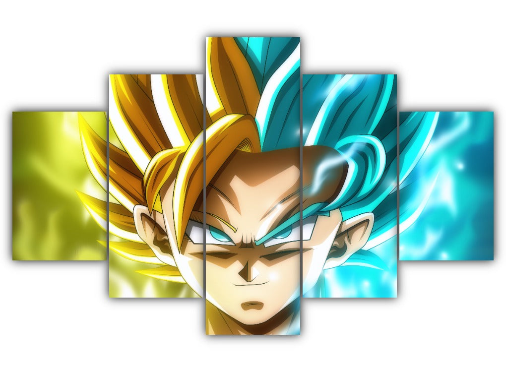 Multi Panel Goku and Caulifla Split Grouped Wall Canvas Art