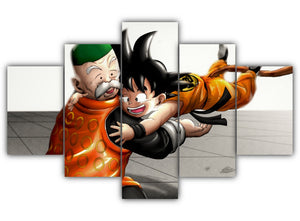 Multi Panel Goku and Grandpa Gohan Split Grouped Wall Canvas Art