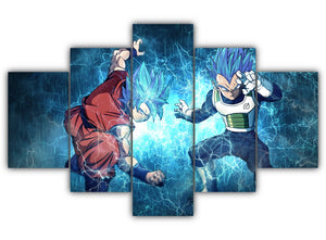 Multi Panel Goku and Vegeta Split Grouped Wall Canvas Art