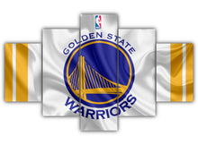Load image into Gallery viewer, Multi Panel Golden State Warriors Logo Split Grouped Wall Canvas Art
