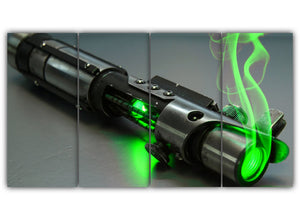 Multi Panel Green Light Saber Split Grouped Wall Canvas Art