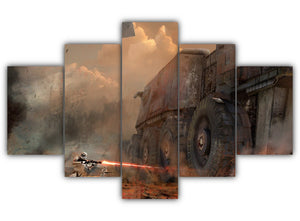 Multi Panel Ground Assault Split Grouped Wall Canvas Art