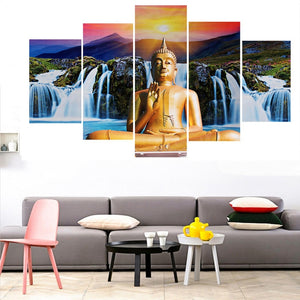 Multi Panel Buddha Waterfall Split Grouped Wall Canvas Art
