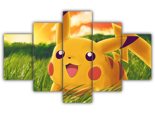 Multi Panel Happy Pikachu Split Grouped Wall Canvas Art