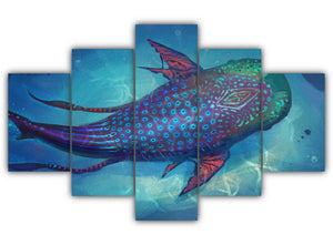 Multi Panel Hybrid Whale Split Grouped Wall Canvas Art