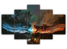Load image into Gallery viewer, Multi Panel Ice vs Fire Split Grouped Wall Canvas Art